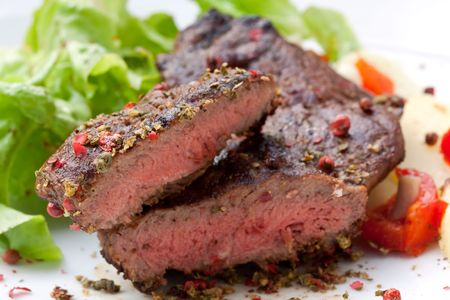 sirloin strip steak with boiled potato photo
