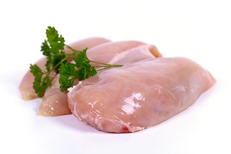 chicken breast fillets on the white  background