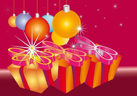 One Christmas Gift package with bauble made by stars, party flyer illustration Stock Illustration - 5644643