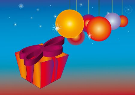 One Christmas Gift package with bauble made by stars, party flyer illustration Stock Illustration - 5661979