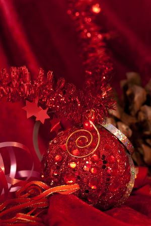 shinning light: Christmas  baubles on dark Stock Photo
