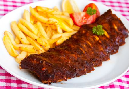 spare ribs:  BBQ marinated spareribs and fries