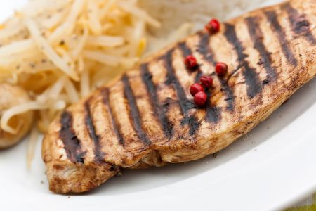 soy sprouts: Grilled turkey fillet ,rice,soy sprouts and vegetable salad Stock Photo
