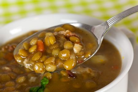 spoonful of lentil stew Stock Photo