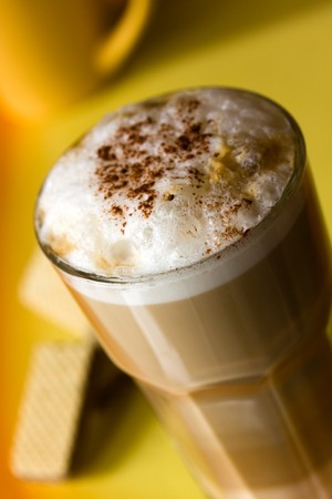 deposed: Latte Macchiato with frothy milk Stock Photo