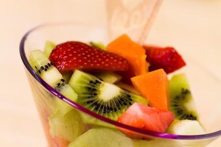 Fruit Salad with Ice Cream,kiwi,strawberry,papaya  photo