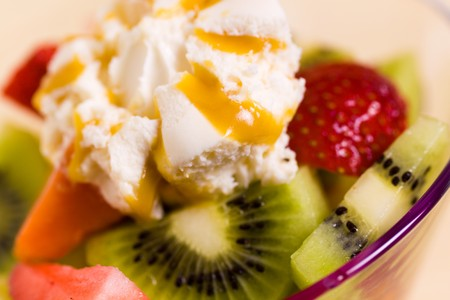 Fruit Salad with Ice Cream,kiwi,strawberry,papaya  photo