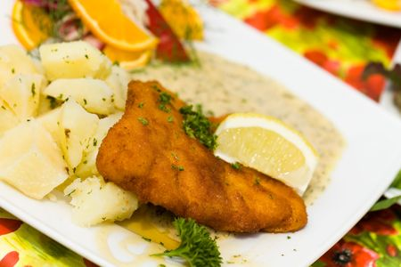 potato cod: Deep fried fresh Cod Fish with Potato and Sauce