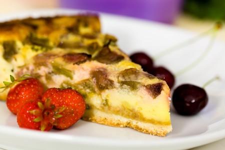 fresh rhubarb cake with strawberry and cherry Stock Photo - 7247175
