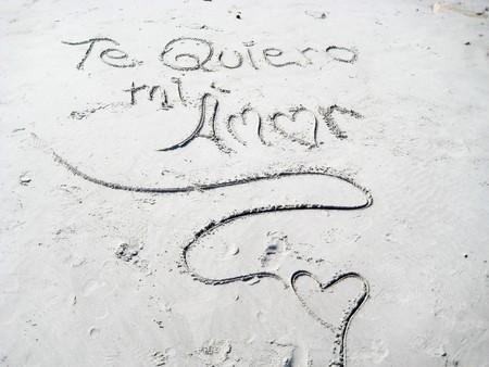 evoking: I love you -  Handwriting ,scene on the beach Stock Photo