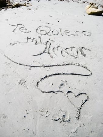 I love you -  Handwriting ,scene on the beach photo