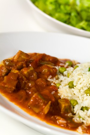 fresh stew of beef and pork with rice  photo