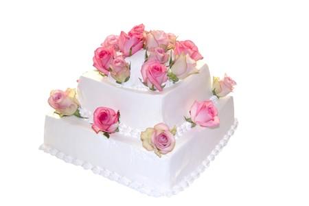 desert rose: Decorated Wedding cake ,isolated on white background