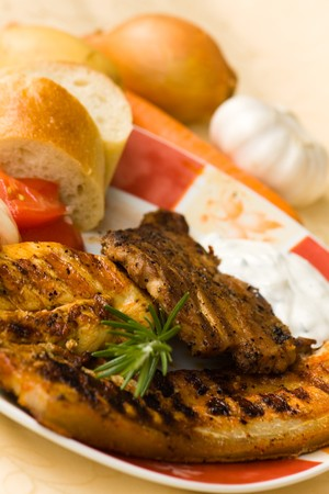bbq , grilled cutlet and bacon with salad  Stock Photo - 7490930