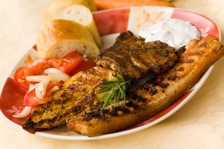 bbq , grilled cutlet and bacon with salad Stock Photo - 7490994