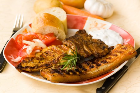 bbq , grilled cutlet and bacon with salad  Stock Photo - 7490987
