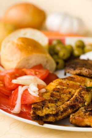 bbq , grilled cutlet and bacon with salad Stock Photo - 7490988