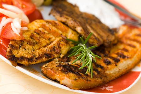 bbq , grilled cutlet and bacon with salad Stock Photo - 7490993