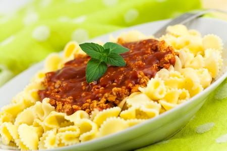 tallarin: Spaghetti - pasta con tomate y or�gano  Foto de archivo