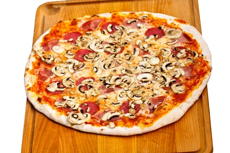 Big Party Pizza salami,mushrooms and vegetable-isolated on white ,Shallow depth-of-field  photo
