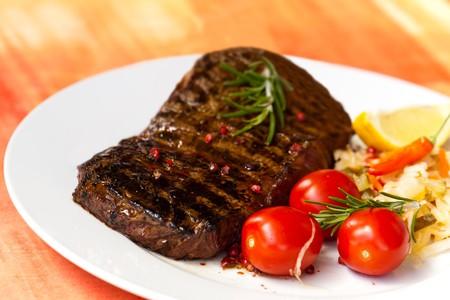 big new york strip steak, 14 oz , 436 gram,grilled photo