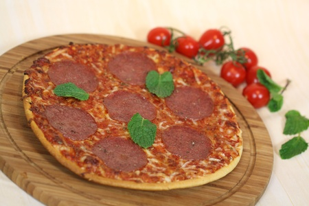 portion of fresh margarita pizza high angle photo