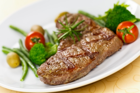 steak dinner: New York Strip Steak with Vegetables