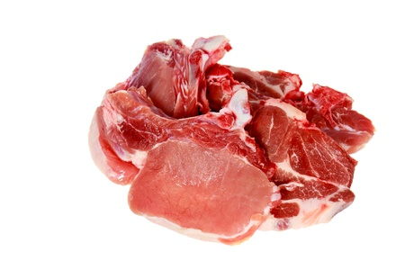 Pieces of fresh raw meat, isolated on white background  photo