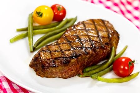 Gourmet Steak with Cherry Tomato,Green Beans photo