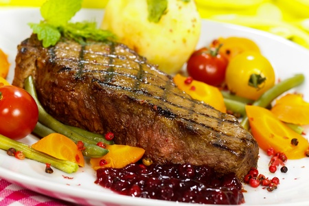 new york strip: Gourmet Steak with Cherry Tomato,Carrots,Green Beans
