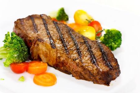Gourmet Steak with Broccoli,Cherry Tomato photo