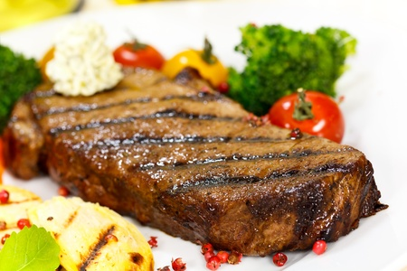new york strip: Gourmet Steak with Broccoli,Cherry Tomato