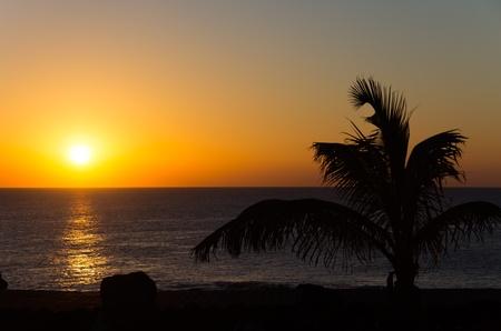 lanzarote: sea sunset in Playa Blanca coast,Lanzarote,Spain