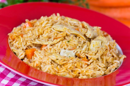 Pilaf,a rice meat with chicken and carrots Stock Photo