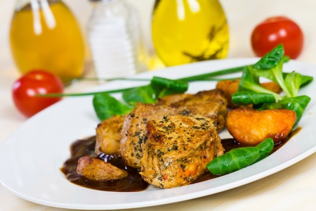 Veal Fillet- Tenderloin with Sauce and Salad  Stock Photo - 13505578