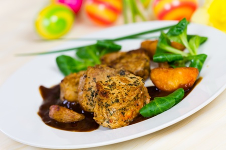 Veal Fillet- Tenderloin with Sauce and Salad Stock Photo - 13505585