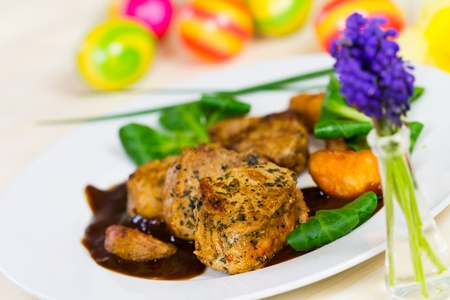 Veal Fillet- Tenderloin with Sauce and Salad  photo