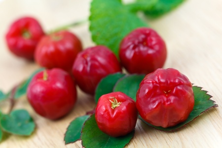 Acerola small cherry fruit with high quantity C Vitamin  photo