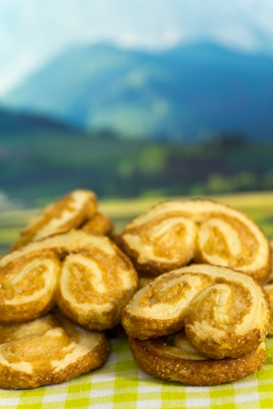 flaky: Puff Pastry , on the green background, Nature Stock Photo