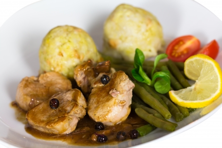 Festive Table, Fillet with Dumplings, green Beans photo