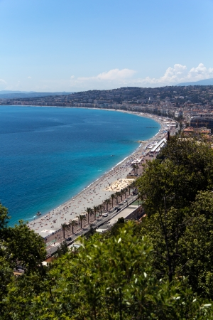 view of mediterranean resort, Nice, Cote d Azur, France  french riviera  turquoise sea and perfect sunny blue sky photo