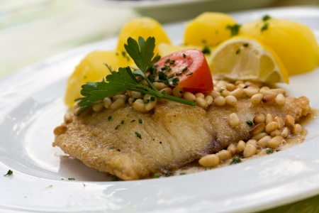 pikeperch: roasted pikeperch fillet with boiled potatoes  Stock Photo