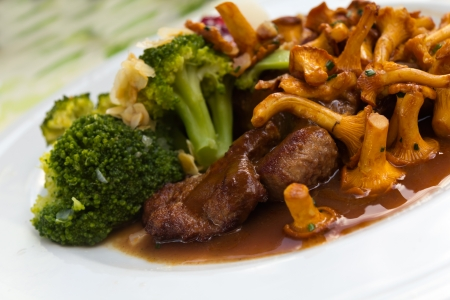 Tenderloin of Roe Deer Back with Chanterelle Stock Photo - 21221474