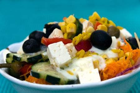 Very mixed Salad, greek Style, mediterranean, with Cheese, Tomato, Rice, Red Bell Pepper photo