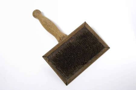 Wool carding brush, isolated on white