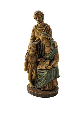 Holy family statue  isolated on white