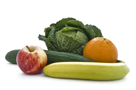 Apple, banana, cumcumber, orange, cabbage representing five fruits and vegtables recommended each day for a healthy lifestyle
