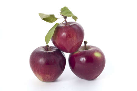 Home grown red apples - not supermarket - on white background