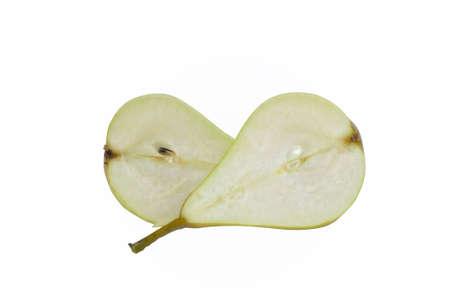 Fresh Pear halved. Not supermarket. Isolated on white.