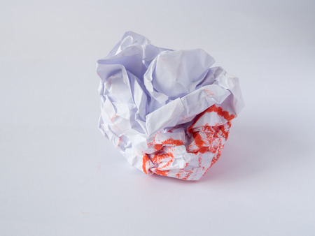 crumpled sheet: Crumpled paper ball, Crumpled sheet of paper, Junk paper can be recycle.